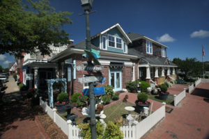 homes lining the street near downtown Manteo