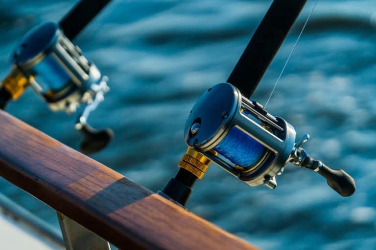 Fishing rod and reel on boat