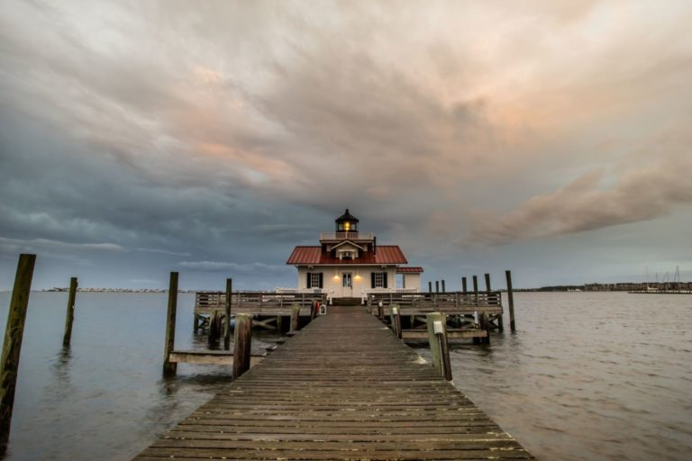 outer banks, fishing pier, dock, lighthouse